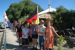 Familienbild mit Flagge